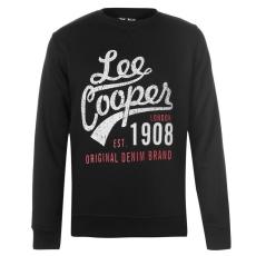 Lee Cooper Férfi pulóver - Lee Cooper Crew Logo Sweater Mens fekete
