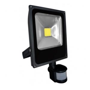 20W mozgásérzékelős LED reflektor - fényvető (meleg fehér, 3 funkciós mozgásérzékelővel, FEKETE házas)