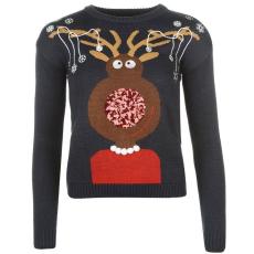 Star karácsonyi női pulóver - Star 3D Xmas Knitted Jumper - sötétkék, Rudolf
