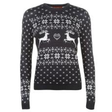 Star karácsonyi női pulóver - Star Christmas Knitted Jumper - sötétkék/fehér