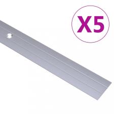 5 db ezüstszínű alumínium padlóprofil 90 cm építőanyag