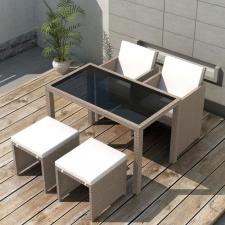 5 részes bézs polyrattan kültéri étkezőszett párnákkal kerti bútor