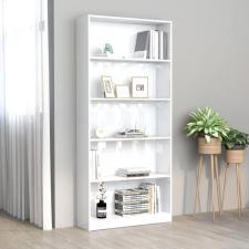 5-szintes magasfényű fehér forgácslap könyvszekrény 80x24x175cm bútor