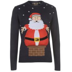 Star karácsonyi férfi pulóver - Star 3D Xmas Knitted Jumper Mens Navy Santa