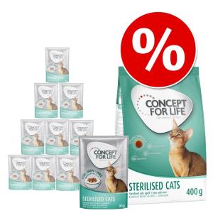 Concept for Life Beauty vegyes csomag macskáknak: 400 g száraz- + 12 x 85 g szószos nedvestáp