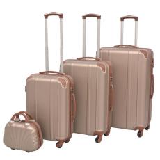 vidaXL 4 darabos, pezsgőszínű, kemény fedeles, görgős bőrönd szett