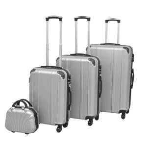 vidaXL 4 darabos, ezüst, kemény fedeles, görgős bőrönd szett