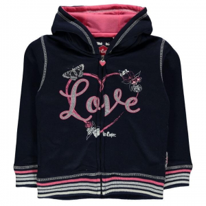 Lee Cooper Lee Cooper kisgyermek cipzáras pulóver - Lee Cooper Glitzy Zipped Sweater Infant Girls Navy