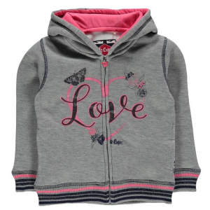 Lee Cooper Lee Cooper kisgyermek cipzáras pulóver - Lee Cooper Glitzy Zipped Sweater Infant Girls Grey Marl