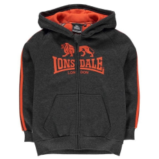 Lonsdale gyerek cipzáras pulóver - Lonsdale 2 Stripe Zip Hoody Junior Charc