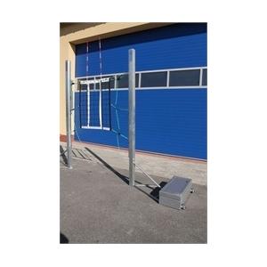 Mobil horganyzott extra stabil gördíthető röplabda állvány 12x30 kg ellensúllyal, 155-243 cm között