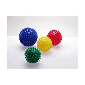 Masszázslabda, puha tüskés, levegőtöltetes 8 cm sárga színű