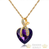 Aranyozott nyaklánc szív medállal, lila