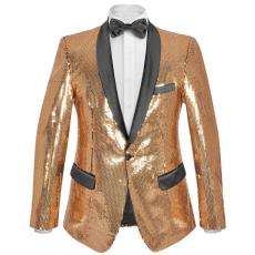 vidaXL férfi szmoking arany flitteres blézer 52-es méret