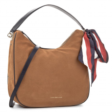 Tommy Hilfiger Táska TOMMY HILFIGER - Iconic Foulard Leather Hobo Suede AW0AW04953 295