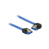 DELOCK Cable SATA 6 Gb/s receptacle straight>receptacle left angled 100cm