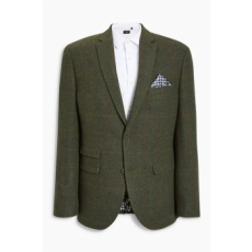 Next , Tailored fit gyapjú tartalmú blézer, Erdőzöld, 48R (193458-GREEN-48R)