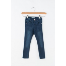 NAME IT , Polly farmernadrág mosott hatással, Sötétkék, 98 CM Standard (13147790-DARK-BLUE-DENIM-98)