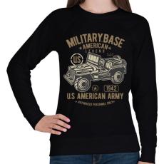 PRINTFASHION Amerikai katonai jeep - Női pulóver - Fekete