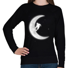 PRINTFASHION Gördeszkás a holdon - Női pulóver - Fekete