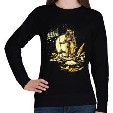 PRINTFASHION Amerikai asztronauta - Női pulóver - Fekete