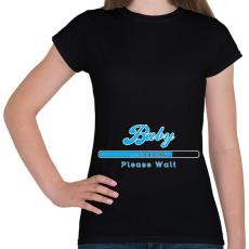 PRINTFASHION baby-loading-blue-white - Női póló - Fekete