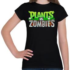 PRINTFASHION Plants vs. Zombies - Női póló - Fekete