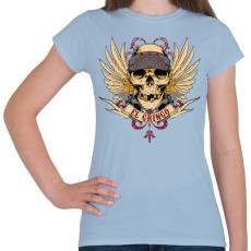 PRINTFASHION Gringo koponya - Női póló - Világoskék