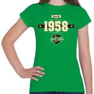 PRINTFASHION born-in-1958-cream-choco - Női póló - Zöld