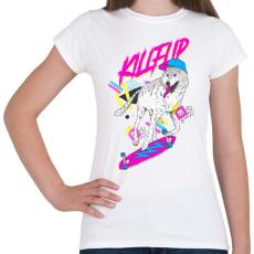 PRINTFASHION Kickflip wolf - Női póló - Fehér