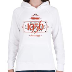 PRINTFASHION since-1956-red-black - Női kapucnis pulóver - Fehér