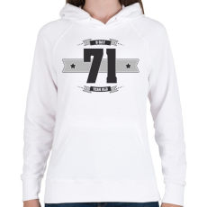PRINTFASHION b-day-71-dark-lightgrey - Női kapucnis pulóver - Fehér