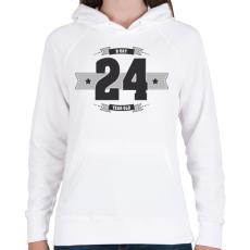 PRINTFASHION b-day-24-dark-lightgrey - Női kapucnis pulóver - Fehér