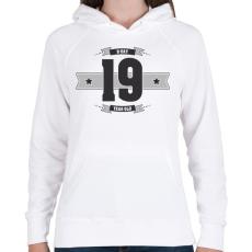 PRINTFASHION b-day-19-dark-lightgrey - Női kapucnis pulóver - Fehér