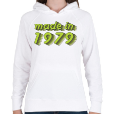 PRINTFASHION made-in-1979-green-grey - Női kapucnis pulóver - Fehér