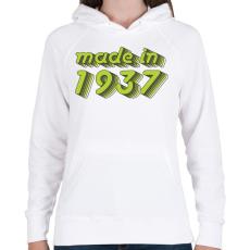 PRINTFASHION made-in-1937-green-grey - Női kapucnis pulóver - Fehér