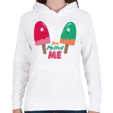 PRINTFASHION Jégkrémek - Női kapucnis pulóver - Fehér