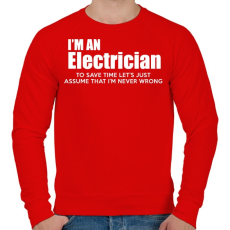 PRINTFASHION ELECTRICIAN - Férfi pulóver - Piros