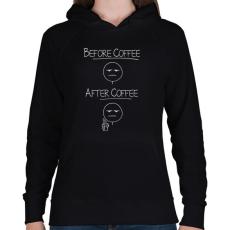 PRINTFASHION Kávé előtt, kávé után... - Női kapucnis pulóver - Fekete