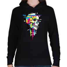 PRINTFASHION Színes koponya - Női kapucnis pulóver - Fekete