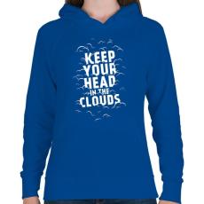 PRINTFASHION Clouds - Női kapucnis pulóver - Királykék