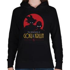 PRINTFASHION Goku és Krillin - Női kapucnis pulóver - Fekete