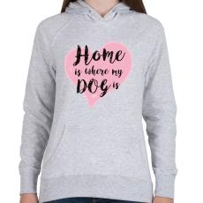 PRINTFASHION DOG LOVE - Női kapucnis pulóver - Sport szürke