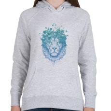 PRINTFASHION Floral lion - Női kapucnis pulóver - Sport szürke