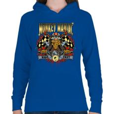 PRINTFASHION Mániákus majom - Női kapucnis pulóver - Királykék