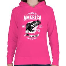 PRINTFASHION Üdv Amerikában - Női kapucnis pulóver - Fukszia