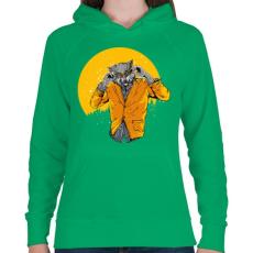 PRINTFASHION Éjjeli szörnyfarkas - Női kapucnis pulóver - Zöld