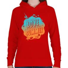 PRINTFASHION Szeretem a nyarat - Női kapucnis pulóver - Piros