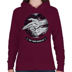 PRINTFASHION Kezeket fel!  - Női kapucnis pulóver - Bordó