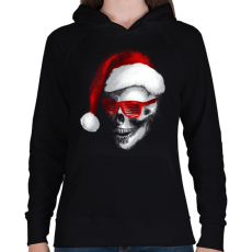 PRINTFASHION Mikulás koponya - Női kapucnis pulóver - Fekete